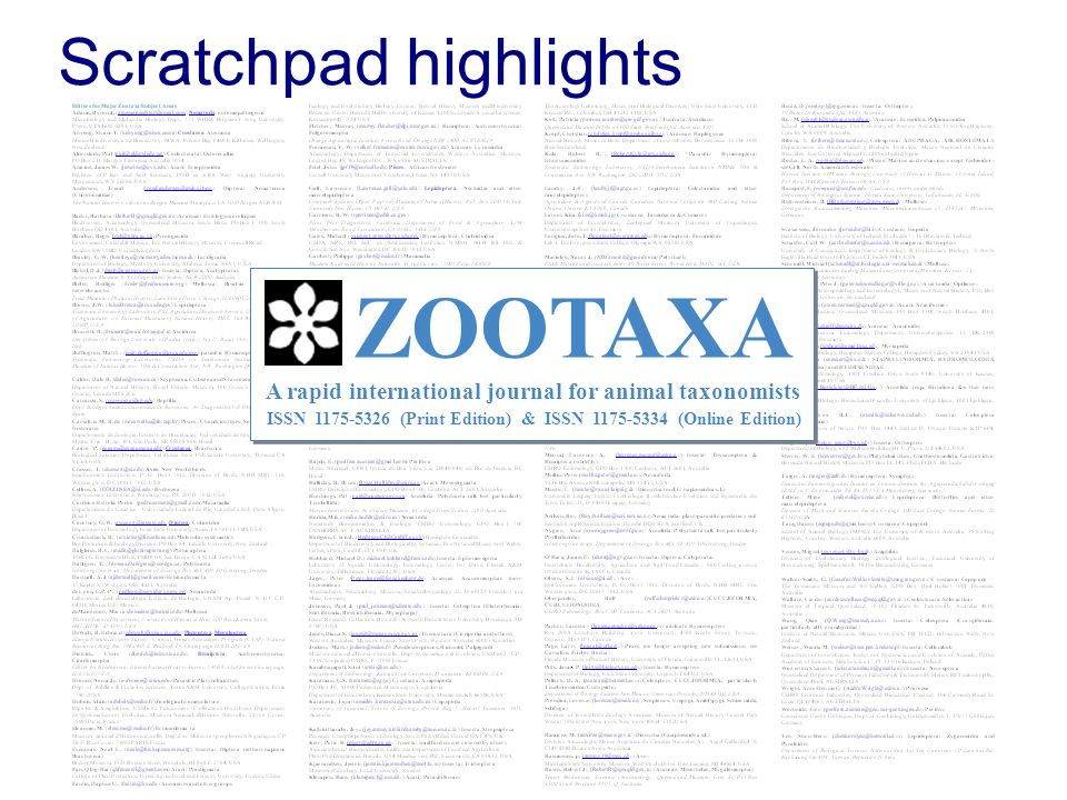 Scratchpad highlights ZOOTAXA A rapid international journal for animal taxonomists ISSN (Print Edition) & ISSN (Online Edition)