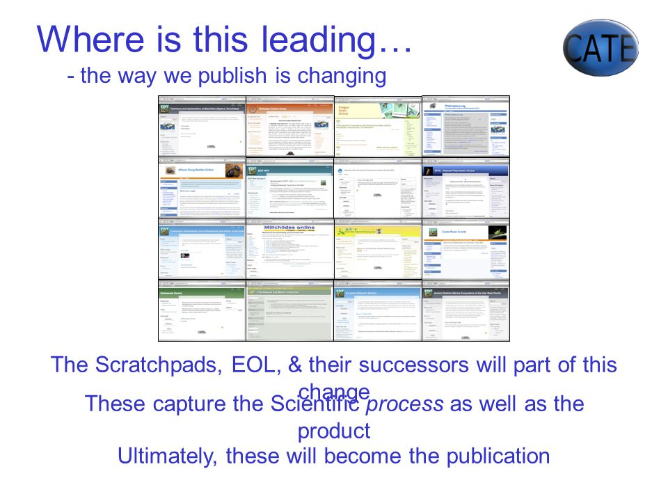 - the way we publish is changing The Scratchpads, EOL, & their successors will part of this change Ultimately, these will become the publication These