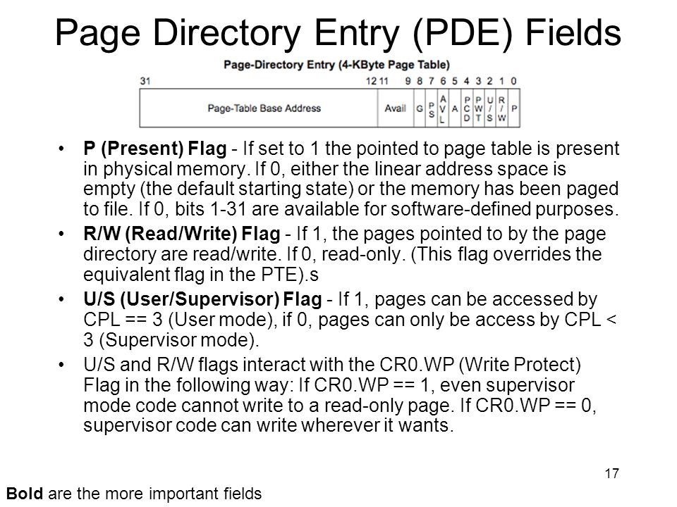 17 Page Directory Entry (PDE) Fields P (Present) Flag - If set to 1 the pointed to page table is present in physical memory. If 0, either the linear a