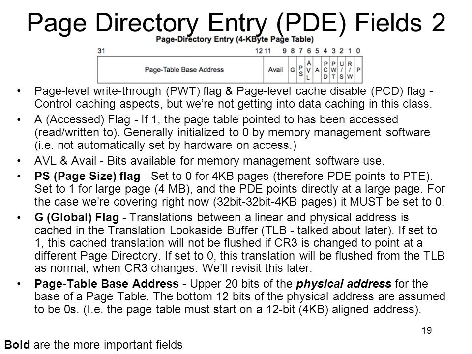 19 Page Directory Entry (PDE) Fields 2 Page-level write-through (PWT) flag & Page-level cache disable (PCD) flag - Control caching aspects, but were n
