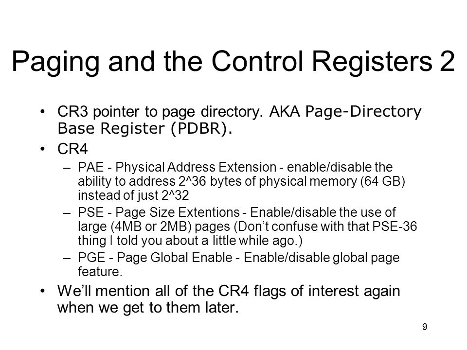 20 Page Table Entry (PTE) Fields P (Present) Flag - If set to 1 the pointed to page is present in physical memory.
