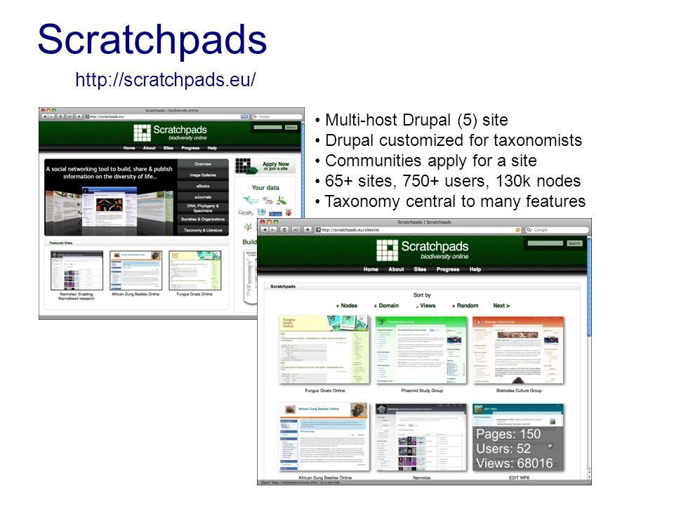 Scratchpads http://scratchpads.eu/ Multi-host Drupal (5) site Drupal customized for taxonomists Communities apply for a site 65+ sites, 750+ users, 130k nodes Taxonomy central to many features