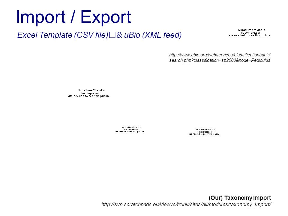 Import / Export Excel Template (CSV file)& uBio (XML feed) http://www.ubio.org/webservices/classificationbank/ search.php classification=sp2000&node=Pediculus (Our) Taxonomy Import http://svn.scratchpads.eu/viewvc/trunk/sites/all/modules/taxonomy_import/