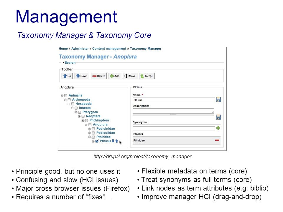Management Taxonomy Manager & Taxonomy Core http://drupal.org/project/taxonomy_manager Principle good, but no one uses it Confusing and slow (HCI issu