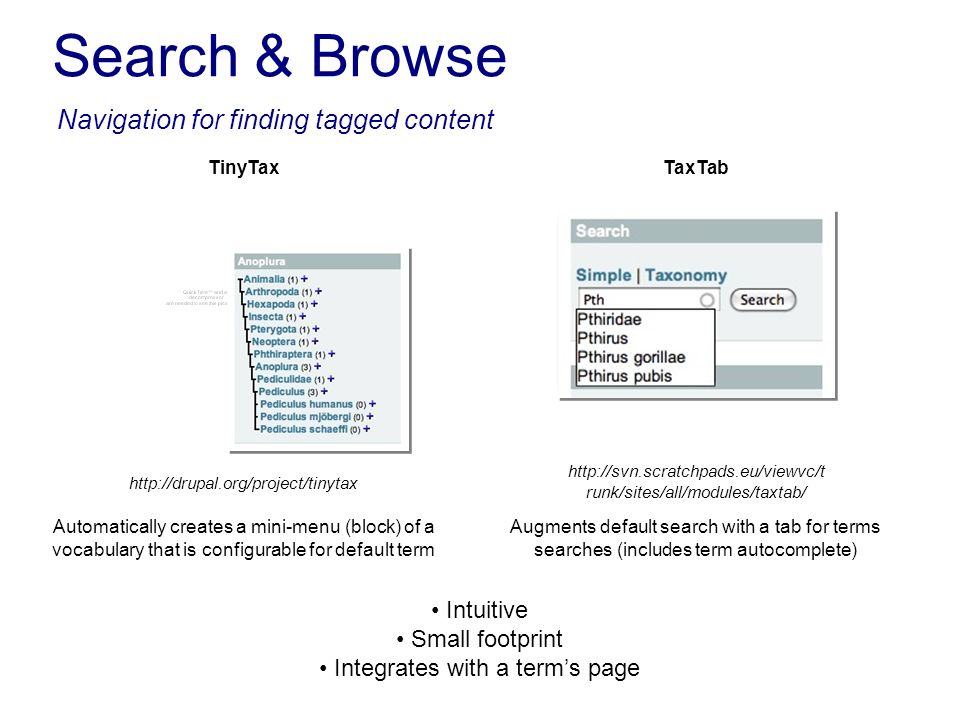 Search & Browse Navigation for finding tagged content TinyTax Automatically creates a mini-menu (block) of a vocabulary that is configurable for defau