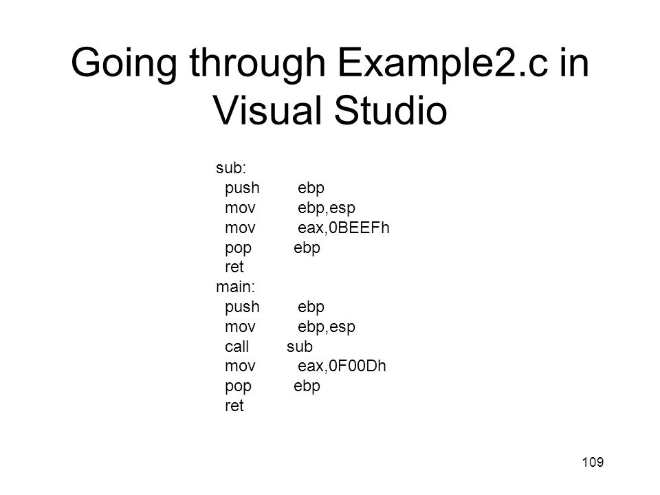 109 Going through Example2.c in Visual Studio sub: push ebp mov ebp,esp mov eax,0BEEFh pop ebp ret main: push ebp mov ebp,esp call sub mov eax,0F00Dh
