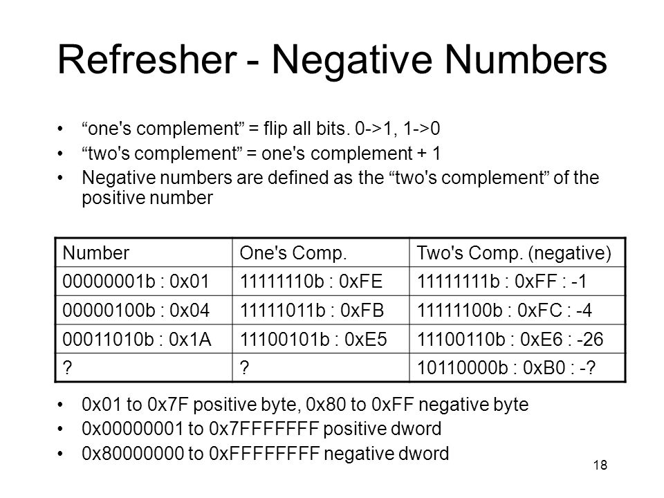 18 Refresher - Negative Numbers one's complement = flip all bits. 0->1, 1->0 two's complement = one's complement + 1 Negative numbers are defined as t