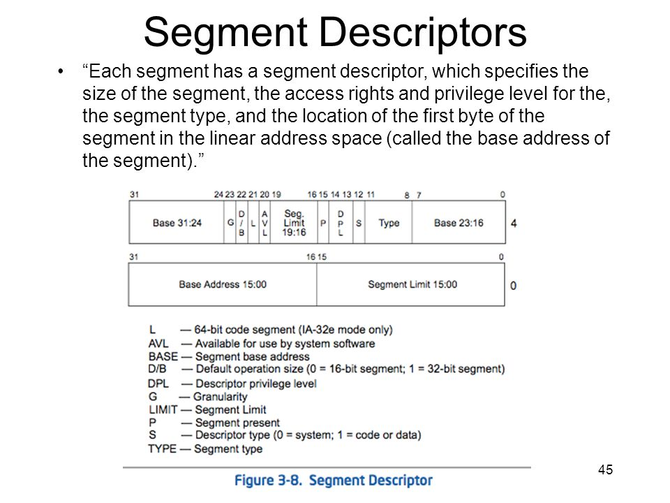45 Segment Descriptors Each segment has a segment descriptor, which specifies the size of the segment, the access rights and privilege level for the,