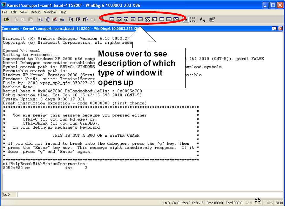 55 Mouse over to see description of which type of window it opens up