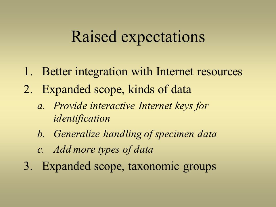 Raised expectations 1.Better integration with Internet resources 2.Expanded scope, kinds of data a.Provide interactive Internet keys for identificatio