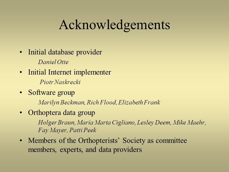 Acknowledgements Initial database provider Daniel Otte Initial Internet implementer Piotr Naskrecki Software group Marilyn Beckman, Rich Flood, Elizab
