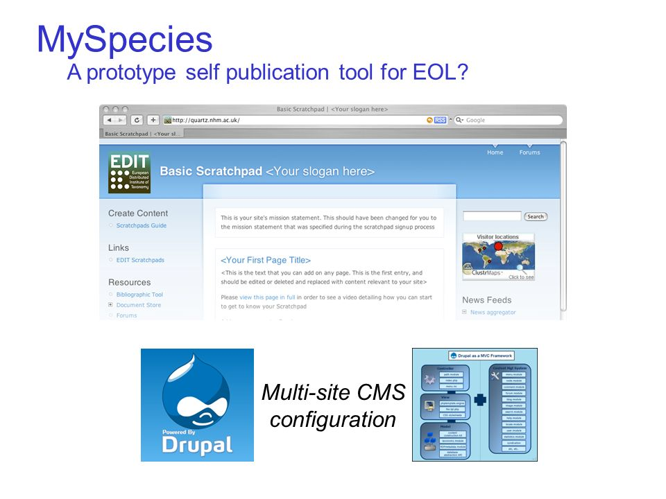 MySpecies Multi-site CMS configuration A prototype self publication tool for EOL?