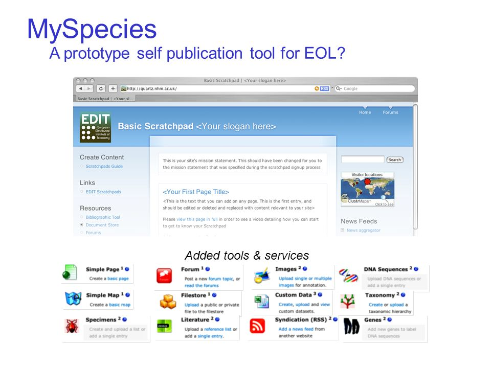 Added tools & services A prototype self publication tool for EOL MySpecies