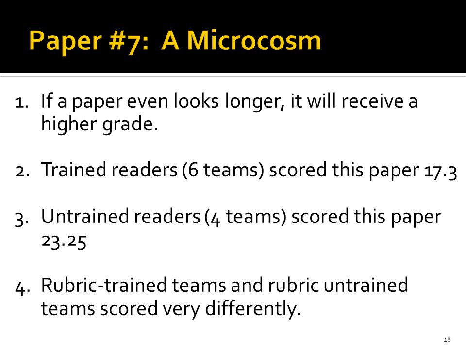1.If a paper even looks longer, it will receive a higher grade. 2.Trained readers (6 teams) scored this paper 17.3 3.Untrained readers (4 teams) score