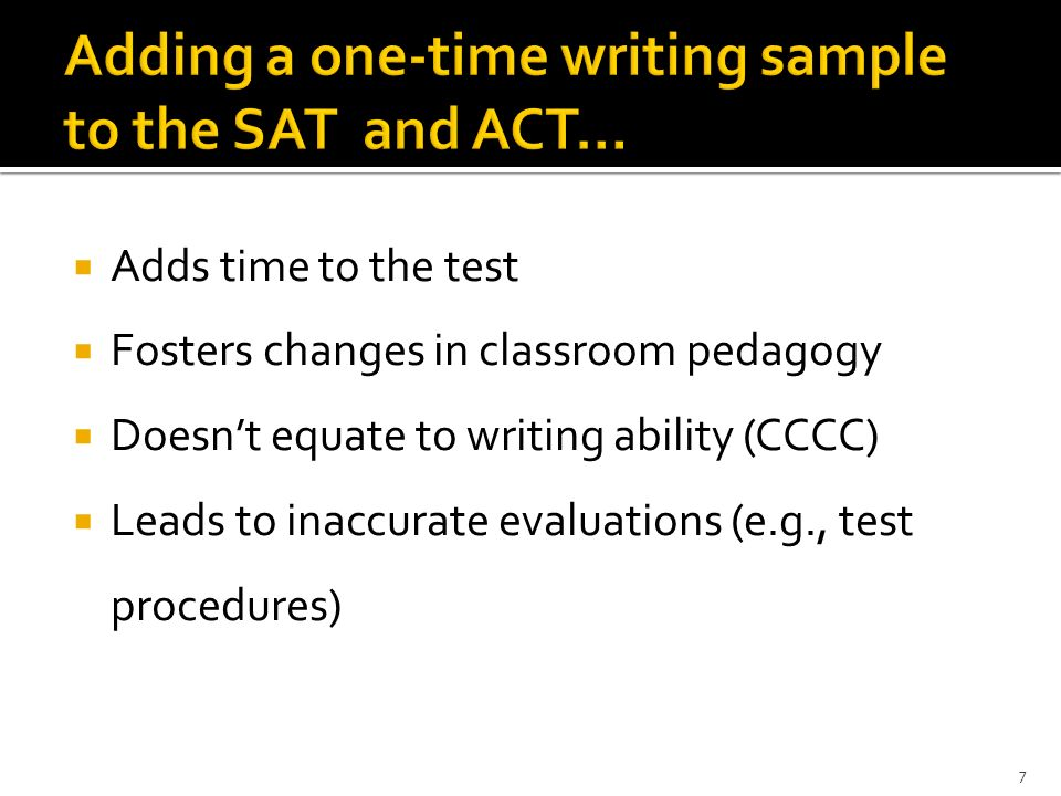 Adds time to the test Fosters changes in classroom pedagogy Doesnt equate to writing ability (CCCC) Leads to inaccurate evaluations (e.g., test proced