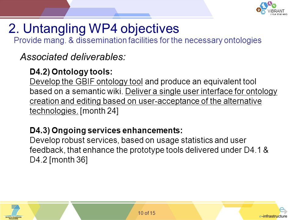 Virtual Biodiversity ViBRANT 10 of Associated deliverables: D4.2) Ontology tools: Develop the GBIF ontology tool and produce an equivalent tool based on a semantic wiki.