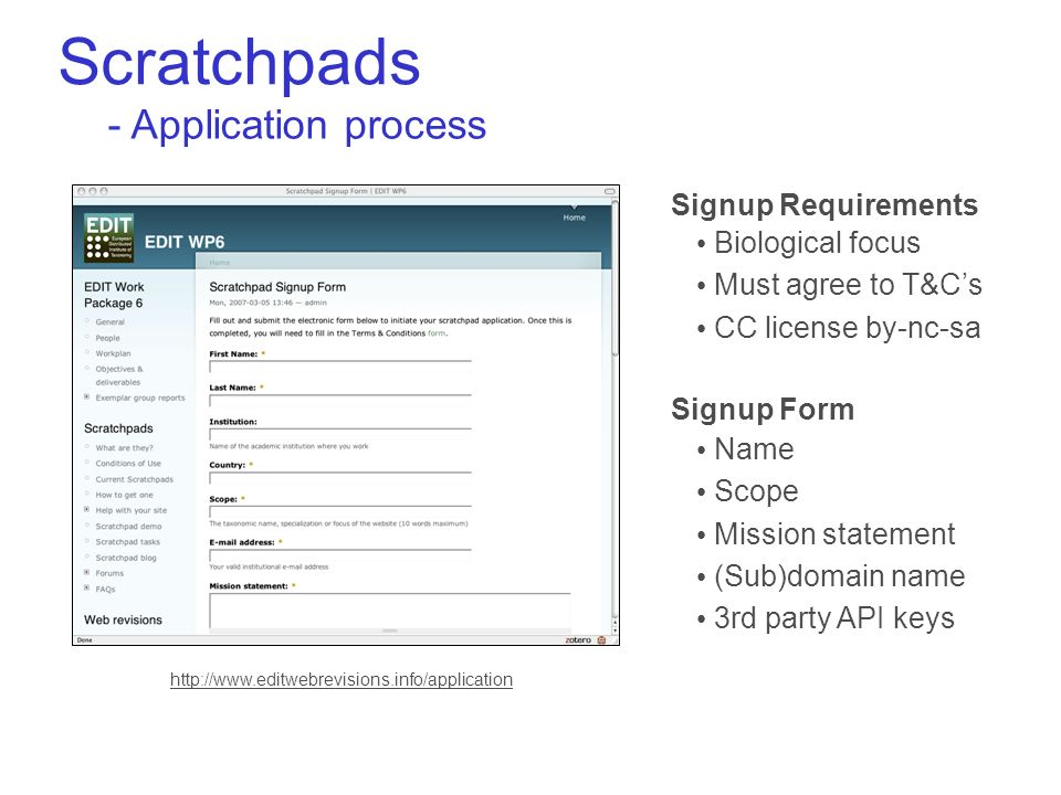 Scratchpads - Application process Biological focus Must agree to T&Cs CC license by-nc-sa Signup Requirements Name Scope Mission statement (Sub)domain name 3rd party API keys Signup Form
