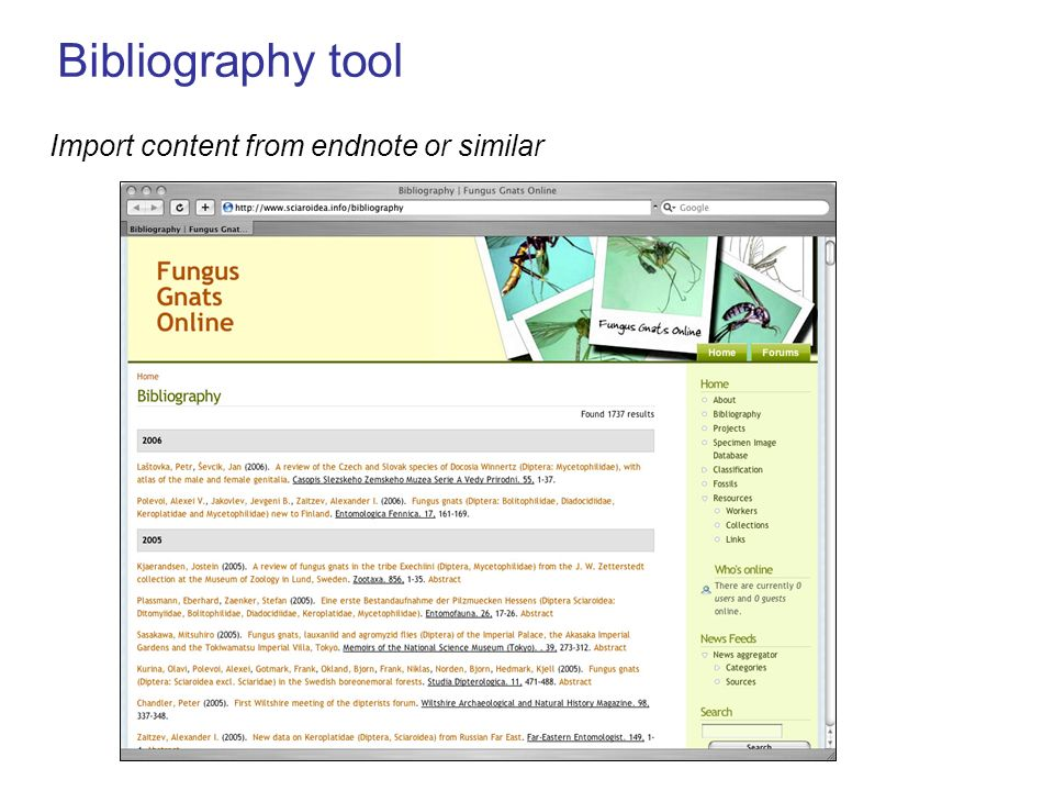 Bibliography tool Import content from endnote or similar