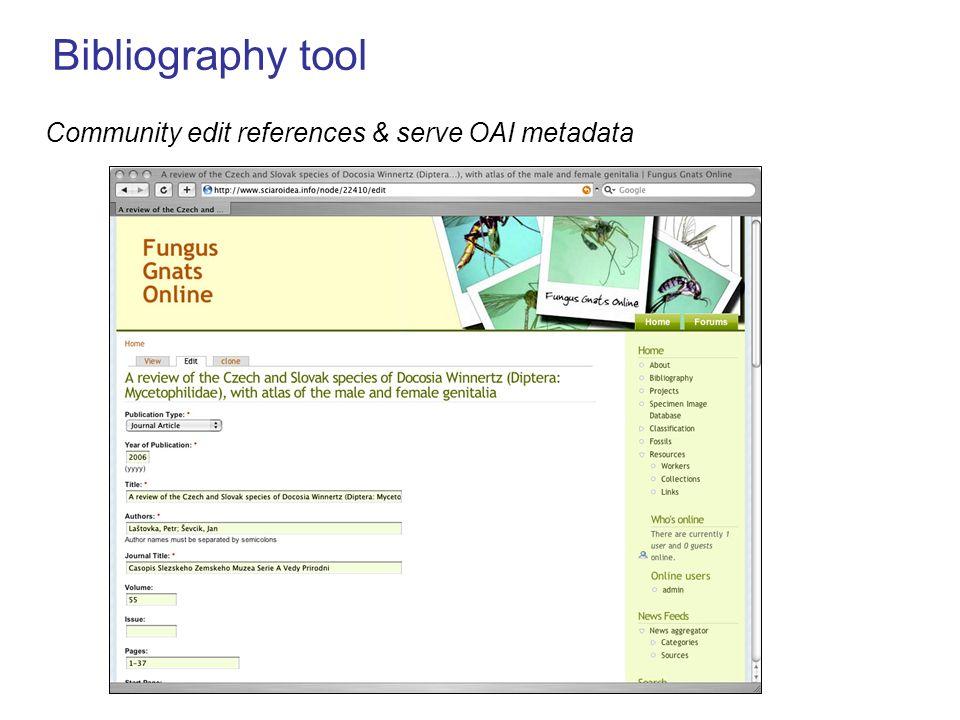 Bibliography tool Community edit references & serve OAI metadata