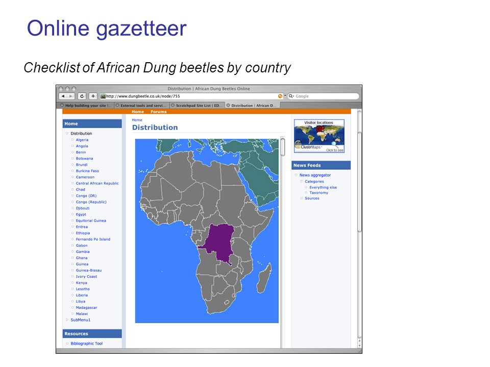Online gazetteer Checklist of African Dung beetles by country
