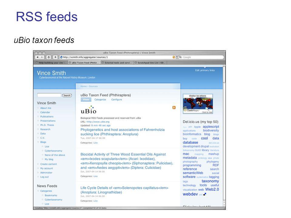 RSS feeds uBio taxon feeds
