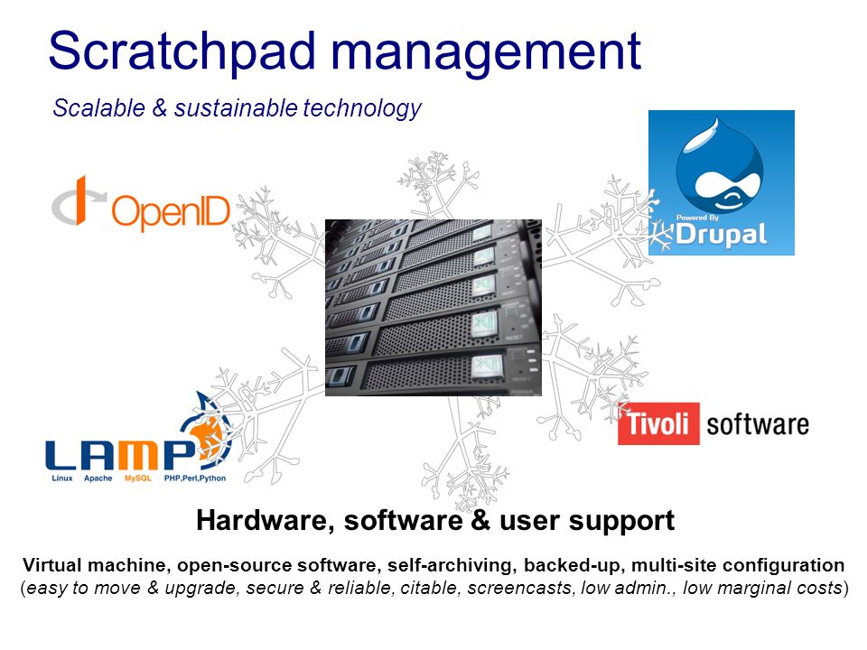Scratchpad management Scalable & sustainable technology Virtual machine, open-source software, self-archiving, backed-up, multi-site configuration (ea