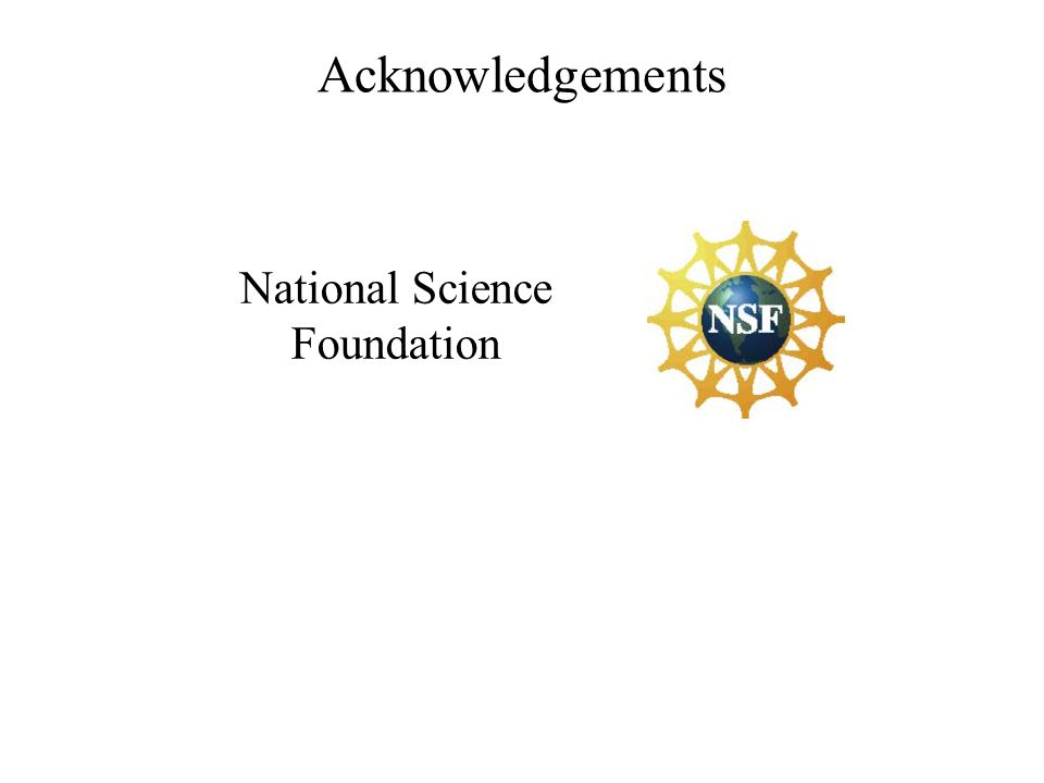 Acknowledgements National Science Foundation