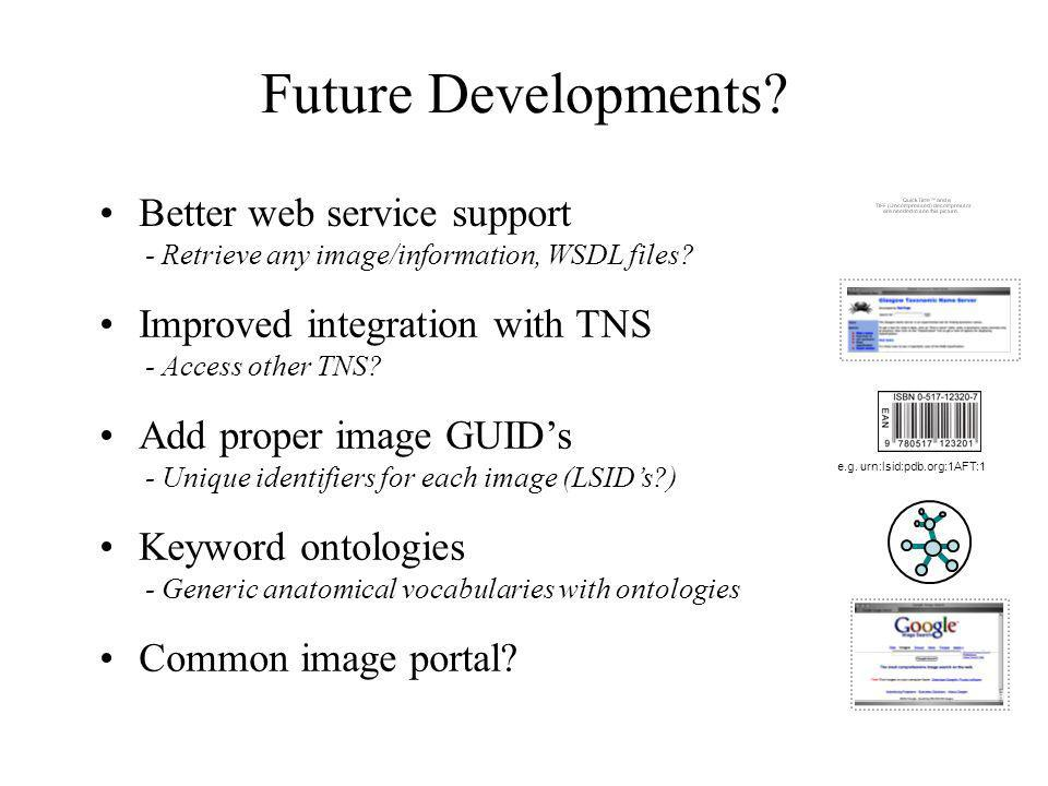 Future Developments? Common image portal? Keyword ontologies - Generic anatomical vocabularies with ontologies Add proper image GUIDs - Unique identif