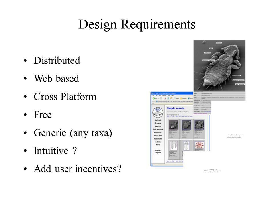 Design Requirements Distributed Cross Platform Generic (any taxa) Intuitive ? Free Web based Add user incentives?