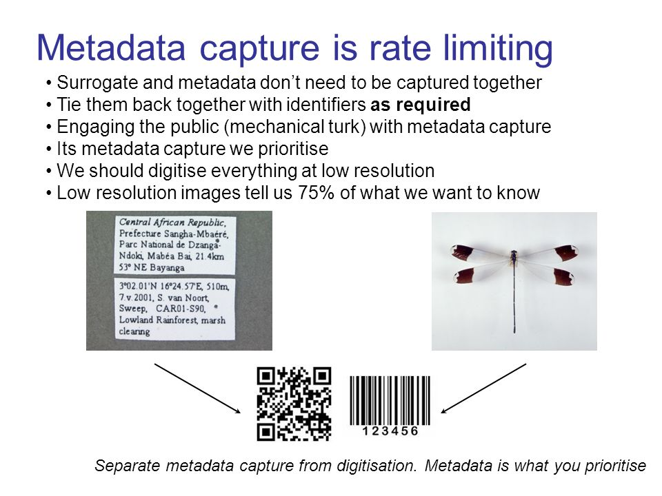 Metadata capture is rate limiting Surrogate and metadata dont need to be captured together Tie them back together with identifiers as required Engaging the public (mechanical turk) with metadata capture Its metadata capture we prioritise We should digitise everything at low resolution Low resolution images tell us 75% of what we want to know Separate metadata capture from digitisation.
