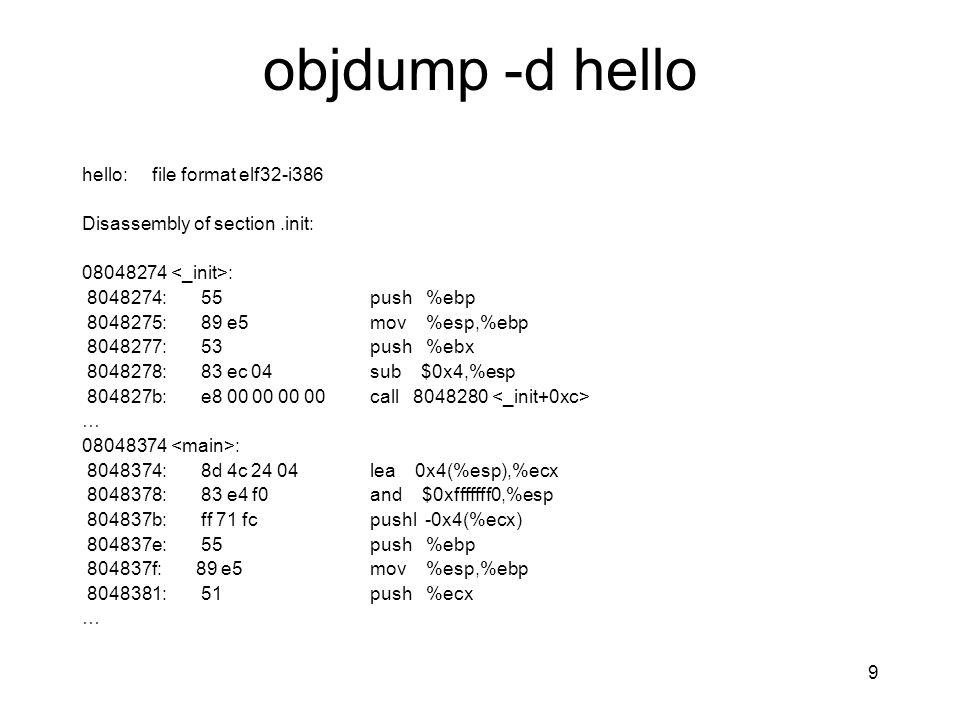 objdump -d hello hello: file format elf32-i386 Disassembly of section.init: 08048274 : 8048274: 55 push %ebp 8048275: 89 e5 mov %esp,%ebp 8048277: 53