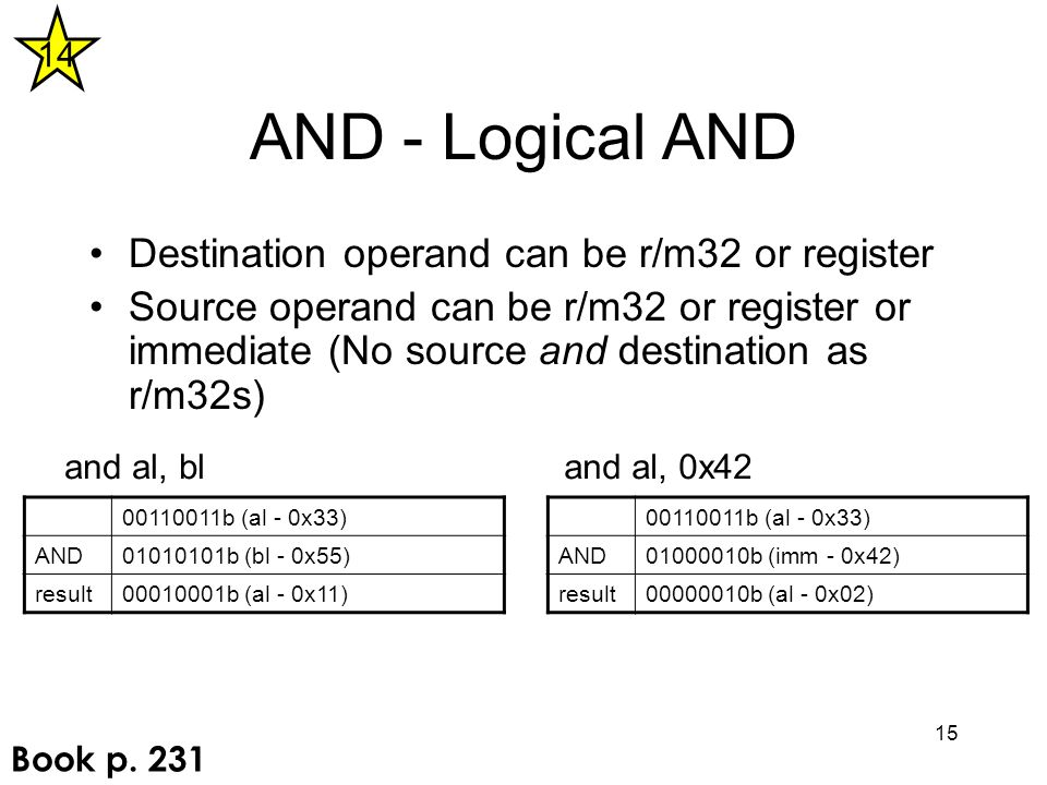 15 AND - Logical AND Destination operand can be r/m32 or register Source operand can be r/m32 or register or immediate (No source and destination as r/m32s) 00110011b (al - 0x33) AND01010101b (bl - 0x55) result00010001b (al - 0x11) and al, bl 00110011b (al - 0x33) AND01000010b (imm - 0x42) result00000010b (al - 0x02) and al, 0x42 14 Book p.