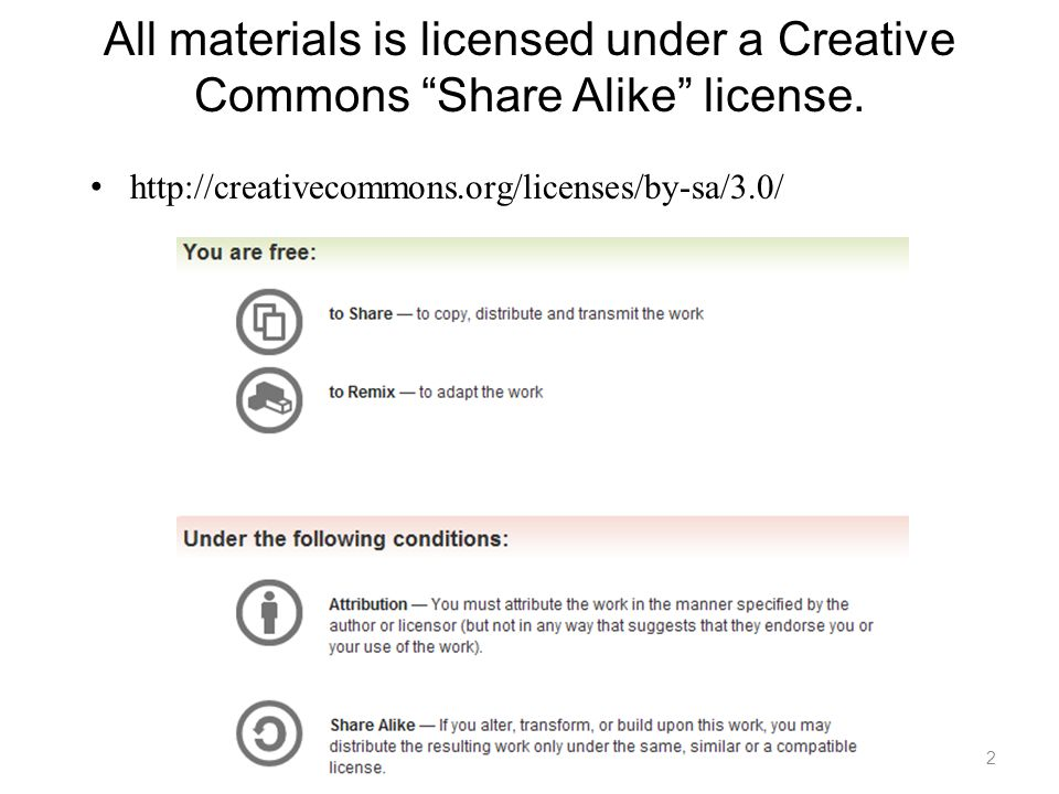 All materials is licensed under a Creative Commons Share Alike license. http://creativecommons.org/licenses/by-sa/3.0/ 2