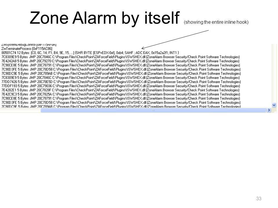 Zone Alarm by itself (showing the entire inline hook) 33
