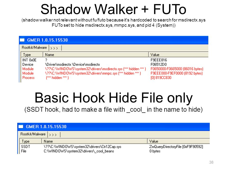 Shadow Walker + FUTo (shadow walker not relevant without fu/futo because it's hardcoded to search for msdirectx.sys FUTo set to hide msdirectx.sys, mm