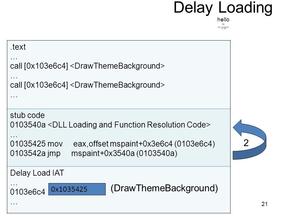 .text … call [0x103e6c4] … call [0x103e6c4] … stub code 0103540a … 01035425 mov eax,offset mspaint+0x3e6c4 (0103e6c4) 0103542a jmp mspaint+0x3540a (0103540a) Delay Load IAT … 0103e6c4 … Delay Loading hello hi how you doing.