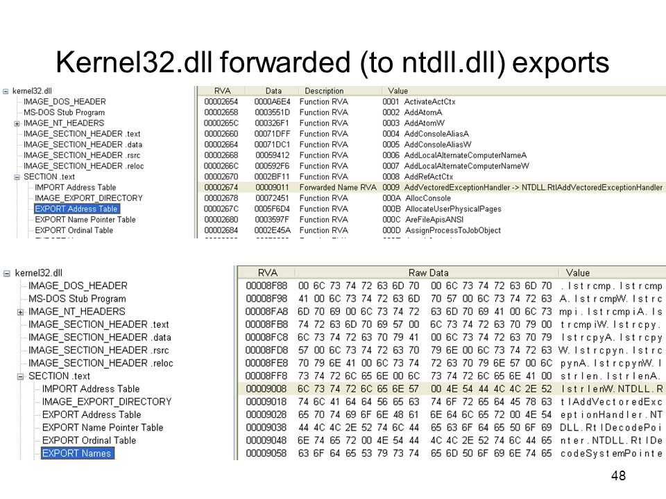 Kernel32.dll forwarded (to ntdll.dll) exports 48