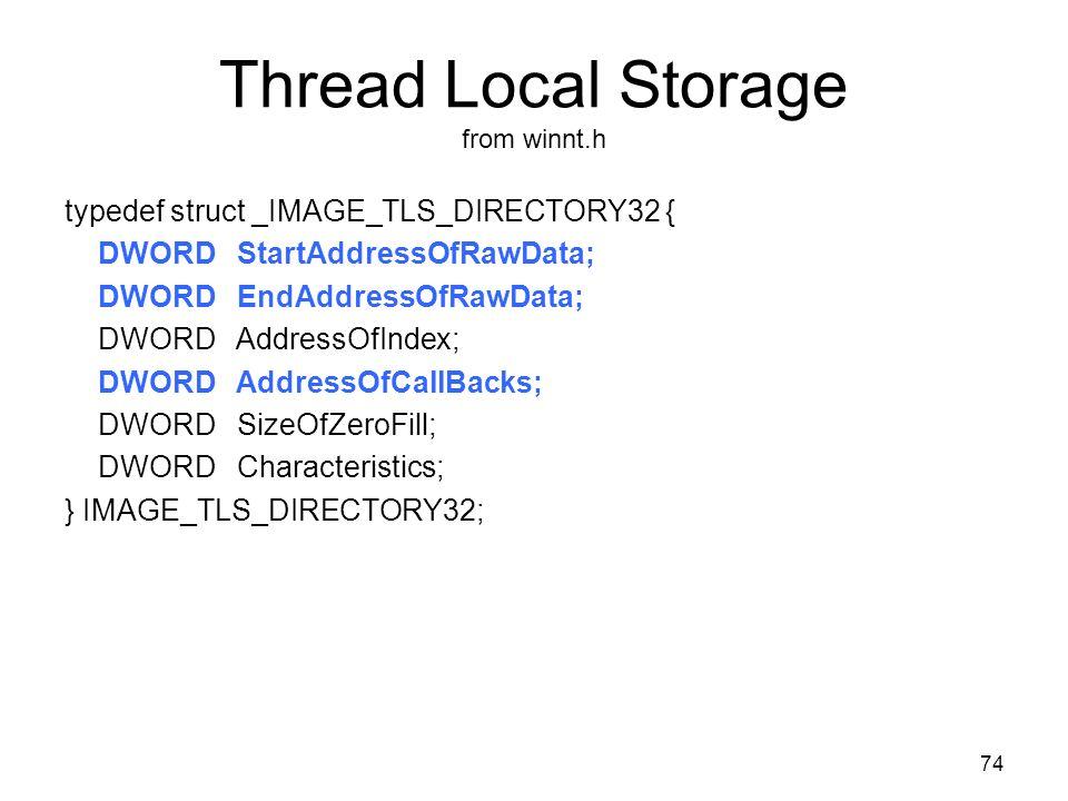 Thread Local Storage from winnt.h typedef struct _IMAGE_TLS_DIRECTORY32 { DWORD StartAddressOfRawData; DWORD EndAddressOfRawData; DWORD AddressOfIndex; DWORD AddressOfCallBacks; DWORD SizeOfZeroFill; DWORD Characteristics; } IMAGE_TLS_DIRECTORY32; 74