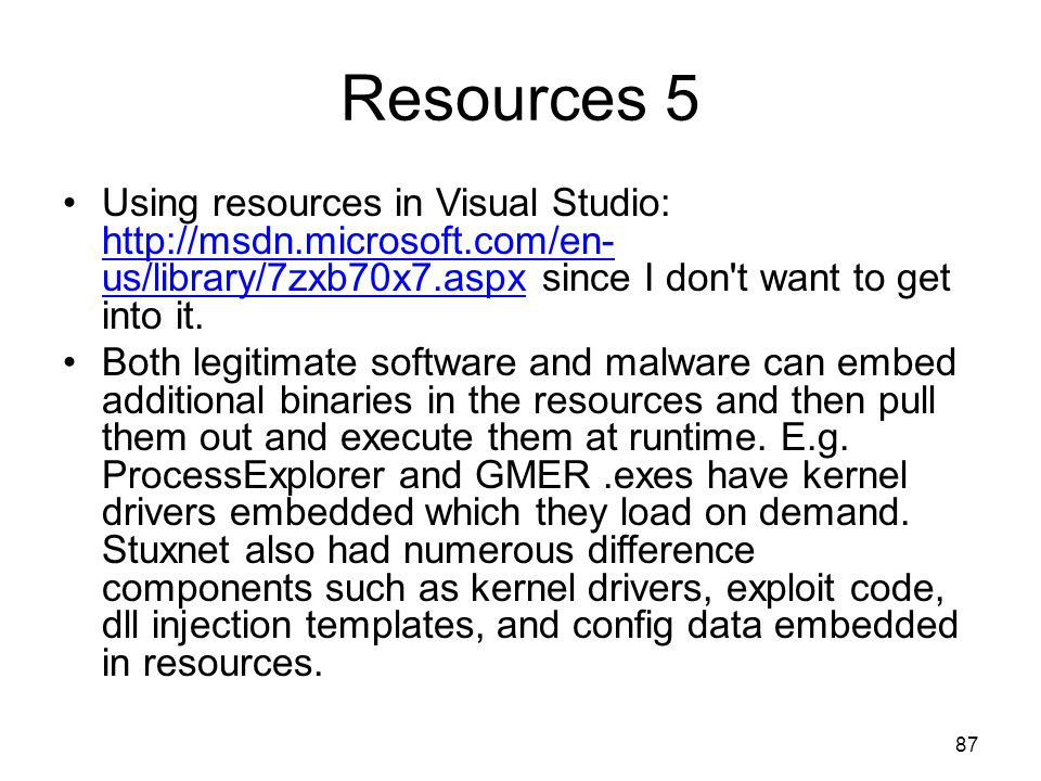 Resources 5 Using resources in Visual Studio: http://msdn.microsoft.com/en- us/library/7zxb70x7.aspx since I don t want to get into it.