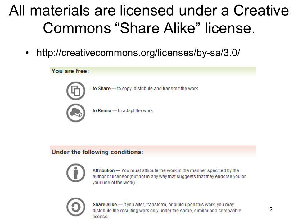 All materials are licensed under a Creative Commons Share Alike license.