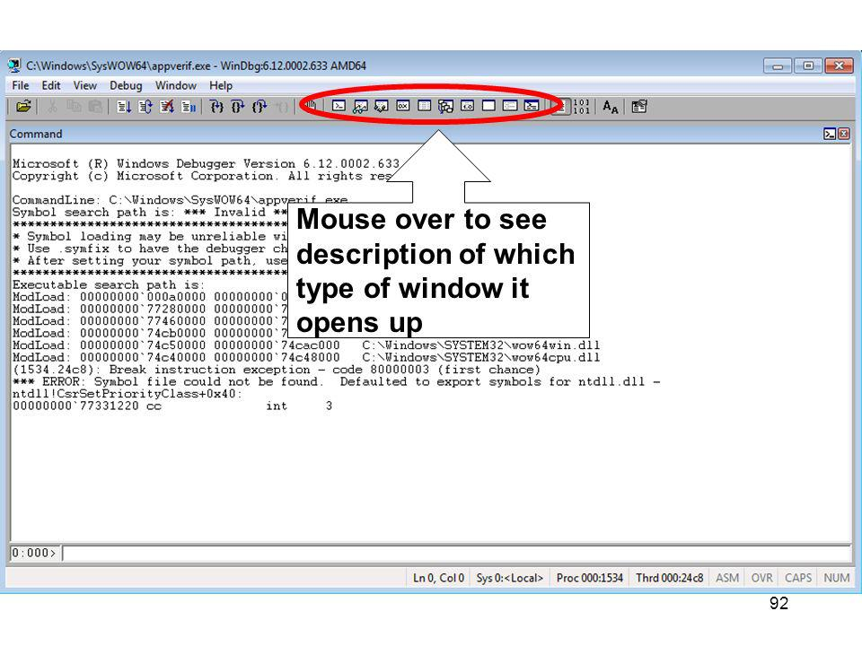 92 Mouse over to see description of which type of window it opens up