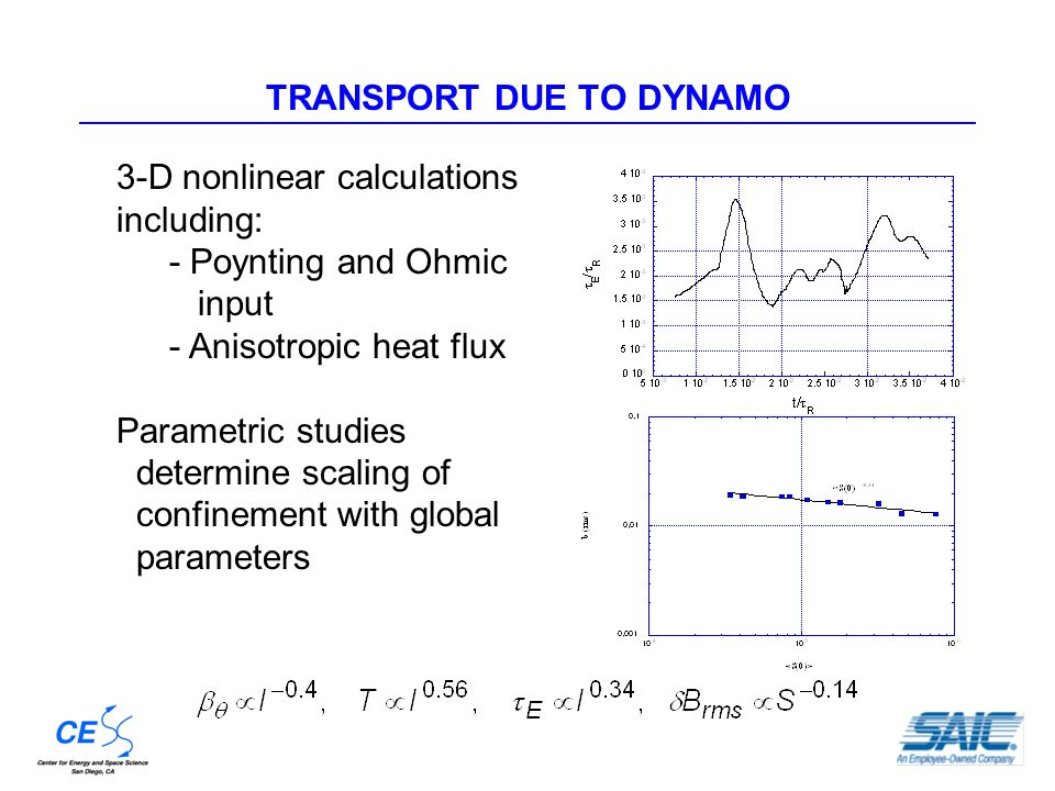 TRANSPORT DUE TO DYNAMO 3-D nonlinear calculations including: - Poynting and Ohmic input - Anisotropic heat flux Parametric studies determine scaling of confinement with global parameters