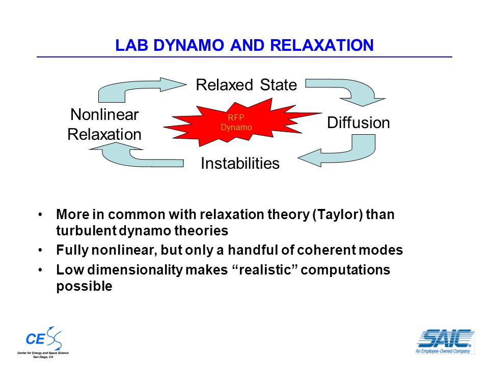 LAB DYNAMO AND RELAXATION More in common with relaxation theory (Taylor) than turbulent dynamo theories Fully nonlinear, but only a handful of coherent modes Low dimensionality makes realistic computations possible Relaxed State Diffusion Instabilities Nonlinear Relaxation RFP Dynamo