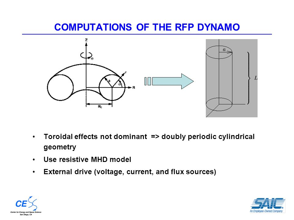 COMPUTATIONS OF THE RFP DYNAMO Toroidal effects not dominant => doubly periodic cylindrical geometry Use resistive MHD model External drive (voltage, current, and flux sources)
