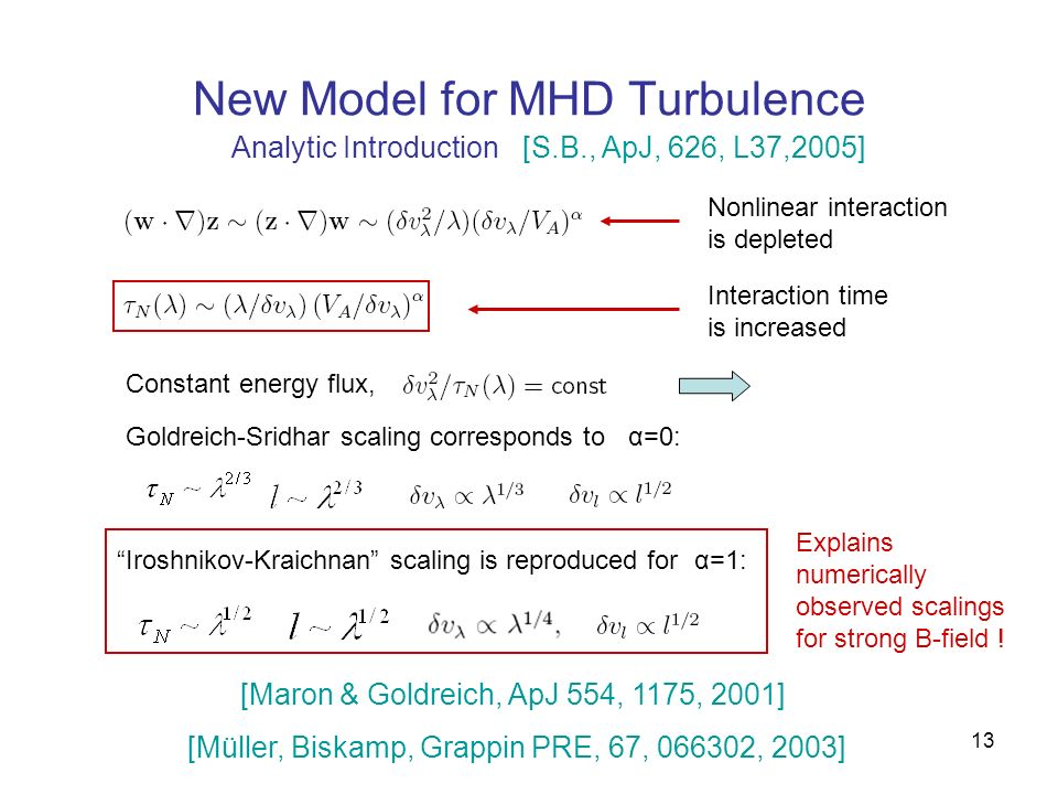 13 New Model for MHD Turbulence Analytic Introduction Nonlinear interaction is depleted Interaction time is increased Constant energy flux, Goldreich-