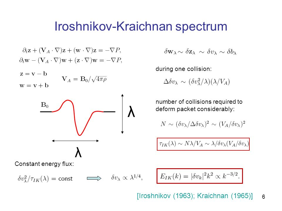 6 Iroshnikov-Kraichnan spectrum λ λ during one collision: number of collisions required to deform packet considerably: Constant energy flux: [Iroshnik