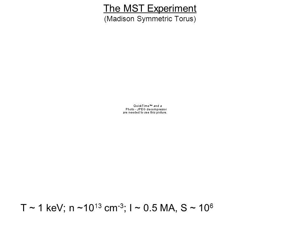 The MST Experiment (Madison Symmetric Torus) T ~ 1 keV; n ~10 13 cm -3 ; I ~ 0.5 MA, S ~ 10 6