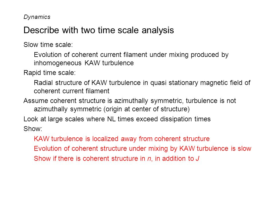 Describe with two time scale analysis Slow time scale: Evolution of coherent current filament under mixing produced by inhomogeneous KAW turbulence Ra