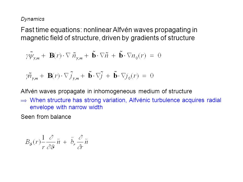 Fast time equations: nonlinear Alfvén waves propagating in magnetic field of structure, driven by gradients of structure Alfvén waves propagate in inh