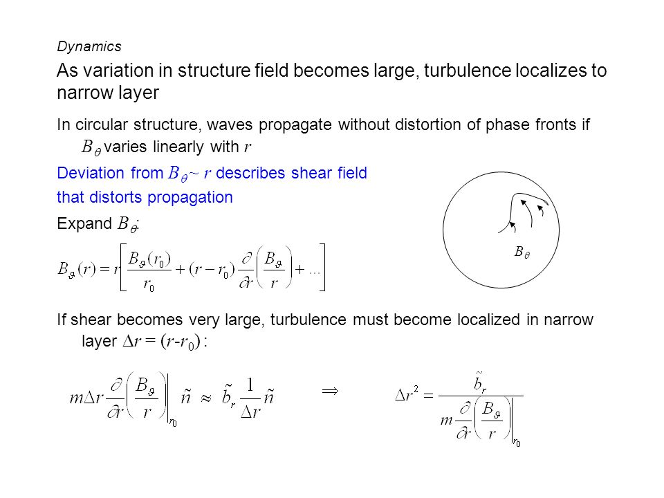 As variation in structure field becomes large, turbulence localizes to narrow layer In circular structure, waves propagate without distortion of phase